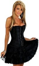 Womens Burlesque Moulin Rouge Fancy Dress Corset+Skirt Tutu Costume Bustier New