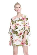 Poncho Dress Top Luau Tropical Cruise Hawaiian Tie Beach Plus Size Cream Rafelsi