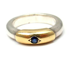Ilias Lalaounis Sterling Silver 18k Sapphire Stacking Ring Sz 6