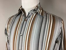 DOLCE & GABBANA ITALY BROWN GRAY STRIPED LUXE LONG SLEEVE DRESS SHIRT 15 38