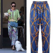 ROSAvelt Boutique Pure Silk Sailor Print Trousers Printed Pants MEDIUM M