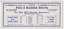 Rare 1948 YALE UNIVERSITY FOOTBALL Schedule Blotter COLLEGE Phil's Barber Shop