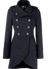 Gestuz Military Long Coat Charcoal Grey Designer Ladies High Neck U.K. Size 8