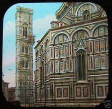 COLOUR Glass Magic Lantern Slide GIOTTOS TOWER FLORENCE C1890 ITALY FIRENZE