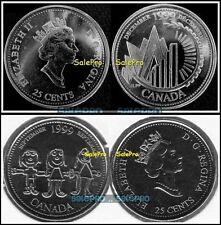 2x CANADA 1999 SEPTEMBER DECEMBER MILLENNIUM CHILDREN QUARTER 25 CENT COIN LOT