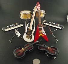 8 LOT SMALL DRUM  ELECTRIC GUITAR , KEYBOARD COLLECTION  CHRISTMAS TREE HANGERS