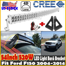 White 54inch 520W CREE Curved LED Light Bar Mount Brackets Fits Ford F150 04-14