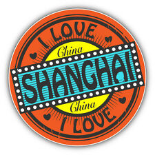 "I Love Shanghai City China Travel Stamp Car Bumper Sticker Decal 5"" x 5"""