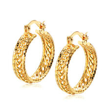 Womens Mens Hoop Earrings Weave Hollow Yellow Gold plated Lucky Statement