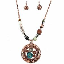 Western Hide your Crazy Bullet Patina Pendant Chain Necklace Earrings Set