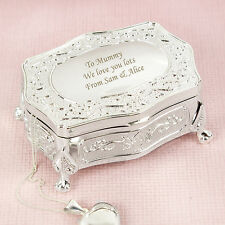 Personalised Luxury Small Silver Plated Jewellery Trinket Box Gift Idea for Her
