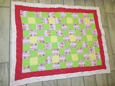 Baby Muppets Quilt Throw Handmade NEW Chevron Pink Gingham Pink lining Cotton