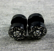 10mm Pentagram Stainless Steel Fake Plug Stud Earrings Screw Back