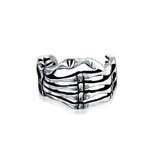 Bling Jewelry Sterling Silver Gothic Skeleton Hand Cartilage Ear Cuff One Piece