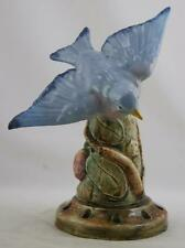 "WELLER BRIGHTON 8.5"" BLUEBIRD IN AN APPLE TREE BUD VASE/FLOWER FROG COMBINATION"