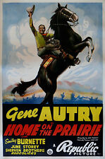 """HOME ON THE PRAIRIE"" ...Gene Autry.. Large Vintage 1939 Movie Poster"