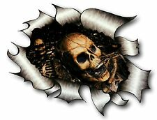 Ripped Torn Metal Look Design & Evil Skull Inside Gothic Motif vinyl car sticker