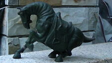 ANTIQUE JAPANESE LARGE CASTIRON HORSE STATUE IN TRADITIONAL TACK.CROUCHED&POWING