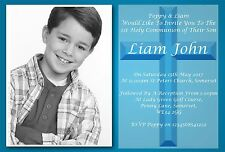 20 Personalised Boys Blue First , 1st Holy Communion Invitations / Invite C11 BL