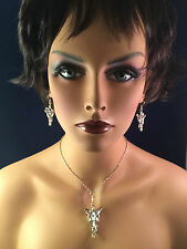 Lord of the Rings Arwen Evenstar Necklace & Earrings ROLE PLAY SILVER TONE USA