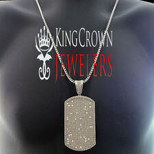 14K White Gold Finish Lab Diamond Jumbo Dog Tag Pendant Charm Franco Chain Set