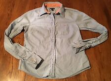 American Eagle Classic Fit Blue Long Sleeve Button Front Shirt Blouse Women's 0