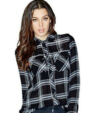 Nwt GUESS $79 Dylan Plaid Utility Button down Shirt Top Black White S 4 5