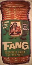 Vintage 1974 Wacky Packages Fang Iron-On Transfer Breakfast Drink For Vampires