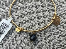NEW RARE ALEX and ANI Jet BLACK OONA Drop Charm BEADED BANGLE Gold BRACELET ��