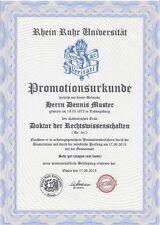 Doktortitel kaufen, komplett,  Rhein Ruhr Uni, Urkunde, Diplom, Meisterbrief