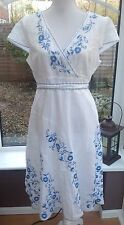 Monsoon White & Blue Embroidered Sun Dress - Size 16 - Hoiday Cruise Summer