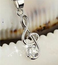 FREE GIFT BAG Silver Plated Music Treble Clef Necklace Chain Ladies Jewellery