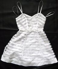 BEBE WHITE RIBBON STRIPE FIT & FLARE FULL SKIRT DRESS NEW LARGE L 10