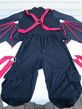 Large Adult Halloween 2pc Costume Black Shirt Black Cargo Pants w Red Straps