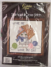 Golden Bee Love Me Love My Cat Kitty Stamped Cross Stitch Kit 20116 Vintage 1983