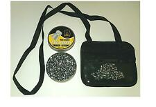 Black leather air rifle gun pellet pouch, zipped and clear pockets gamo bsa 177
