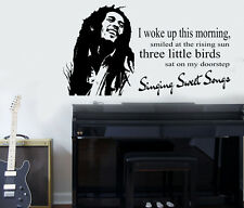 "Bob Marley ""Three Little Birds"" Quote Wall Art Sticker/Decal/Mural"