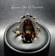 9ct Gold Oval cut Smoky Quartz Ring Size L 3.8g