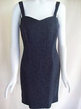 Vtg 80s Blondie and Me Lined LBD Black Lace Cocktail Party Dress Button Straps M