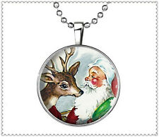 VoguePunk Style Santa and Deer Glow in the Dark Stainless Steel Necklace Pendant