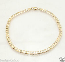 "10"" Solid Miami Cuban Curb Chain Ankle  Bracelet Anklet Real 14K Yellow Gold"