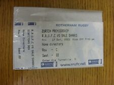 17/10/2003 Ticket: Rugby Union, Rotherham v Sale [Complete Ticket] . Thanks for