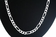 Sterling Silver 24 Inch 15.5mm Figaro Chain Necklace w/ Lobster claps