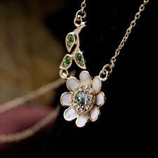 Collier Pendantif Email Blanc Petit Fleur Marguerite Cristal Bleu Original DZ 1