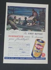 Original 1941 Print Ad  RAY-O-VAC Battery Leak Proof Fishing Scene Stahl art