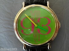 MADE IN FRANCE GROSSE MONTRE BRACELET OR FLUO CUIR NOIR FEMME WOMAN BIG WATCH 90