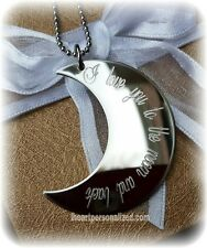 I Love You To The Moon And Back half moon necklace, Engraved Moon, Moon Jewelry
