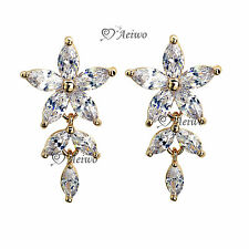 18K YELLOW WHITE ROSE GOLD 925 SILVER SWAROVSKI CRYSTAL STUD EARRINGS