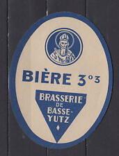 Ancienne étiquette    Alcool  France Bière  Brasserie de basse Yutz