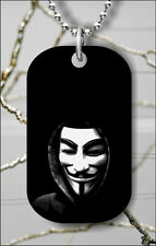 ANONYMOUS WHITE MASK DOG TAG PENDANT NECKLACE FREE CHAIN -a2ew3
